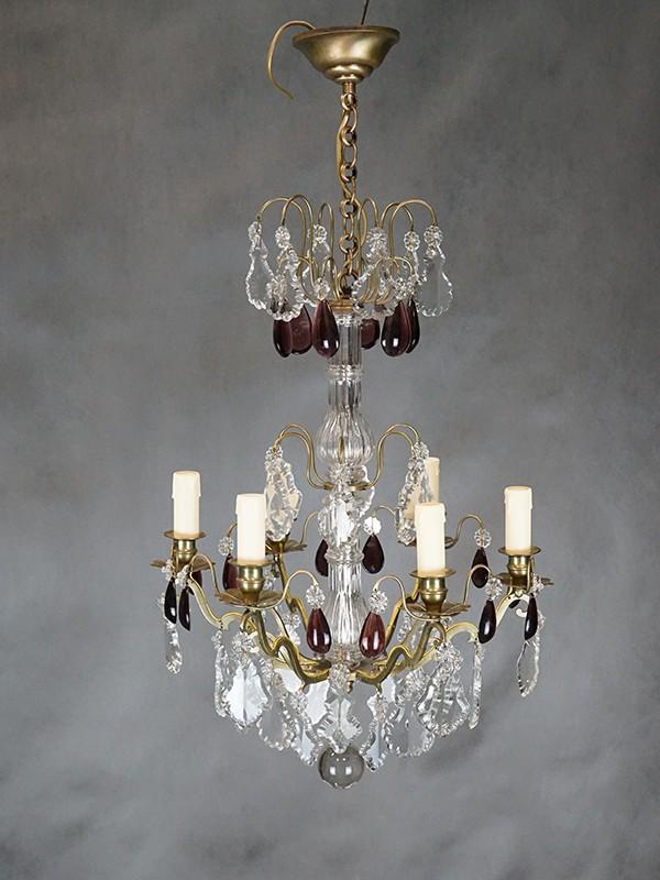 Люстра бронза хрусталь, 6 световых точек, 77 × 40см. Франция, середина ХХ века