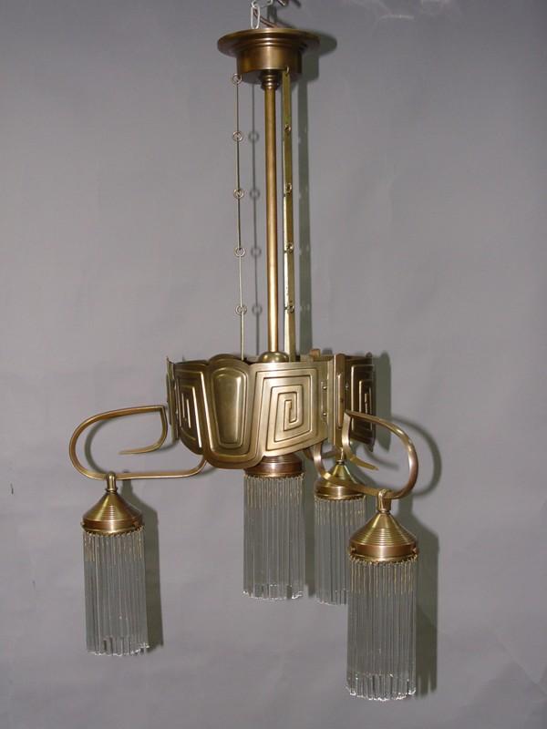 Люстра в стиле модерн, латунь, бронза, стекло, начало ХХ века, 4 световые точки, 75 × 50см