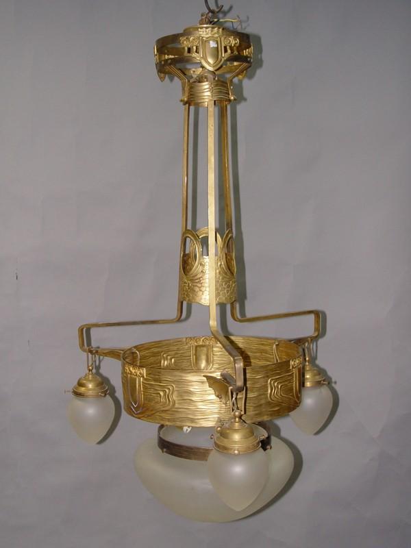Люстра в стиле модерн, латунь, бесцветное, матированное стекло, начало ХХ века, 6 световых точек, 110 × 62см