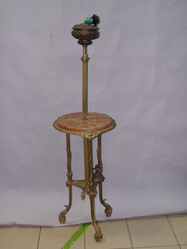 Торшер в стиле историзм, бронза, шпиатр, мрамор, конец XIX века, 137 × 40см (требует реставрации, электропроводка неисправна)