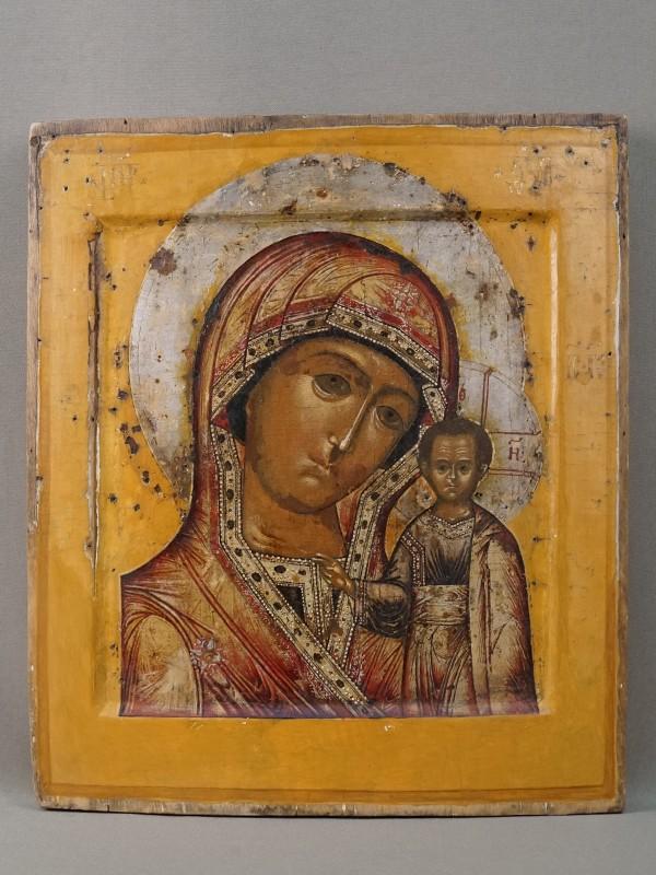 Икона «Пресвятая Богородица Казанская», дерево, левкас, темпера, золочение, XVII век, 31,4 × 27,4см