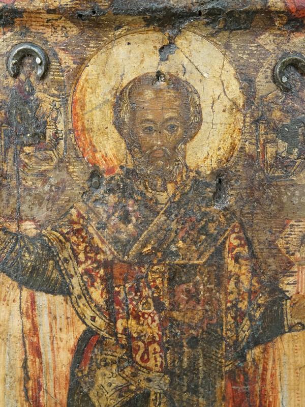 Икона «Святой Николай Чудотворец с житийными сценами», дерево, левкас, темпера, золочение, XVII век, 31,4 × 27см