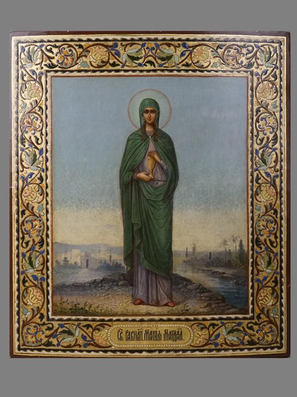 Икона «Святая Равноапостольная Мария Магдалина», дерево, масло, холодные эмали, золочение, конец XIX века, 35,9 × 31см