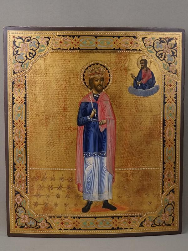 Икона «Святой Равноапостольный Царь Константин», дерево, темпера, золочение, холодные эмали, конец XIX века, 35,4 × 30см