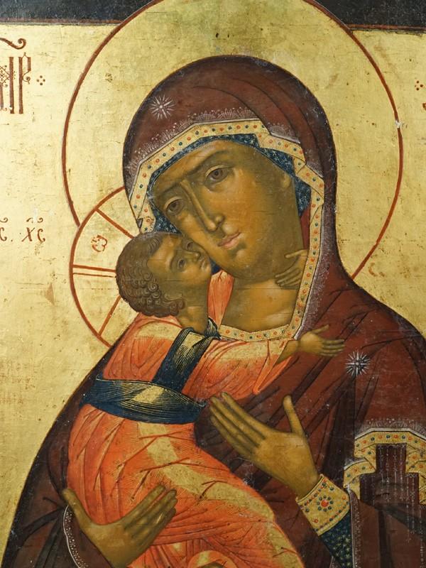 Икона «Пресвятая Богородица Владимирская», дерево, левкас, темпера, золочение, XVIII век, 31,3 × 25,8см