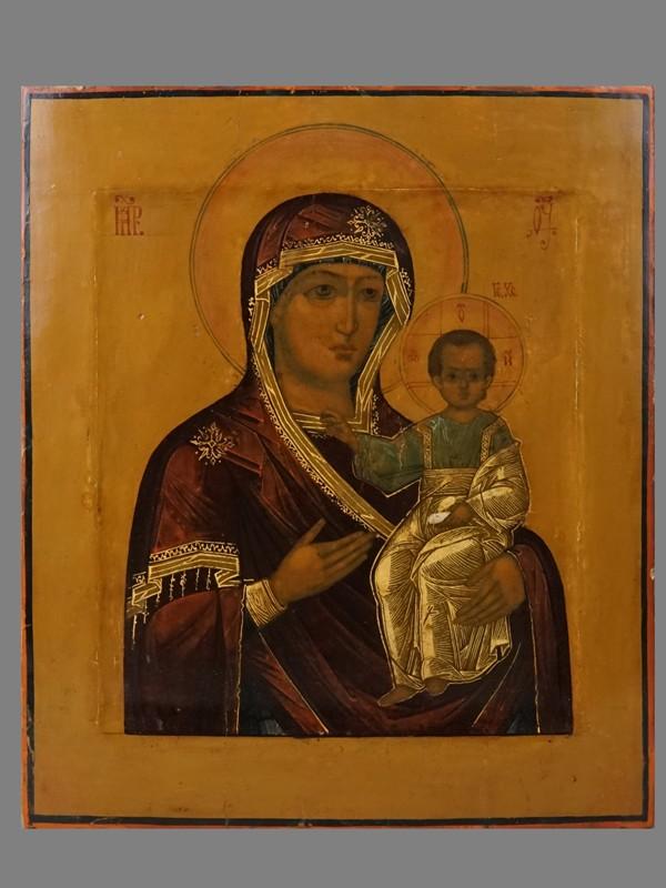 Икона «Пресвятая Богородица Одигитрия», дерево, левкас, темпера, золочение, XIX век, 31,3 × 26,7см