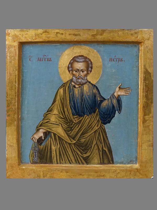 Икона «Святой Апостол Петр», дерево, левкас, темпера, золочение, XIX век, 18,7 × 18,5см