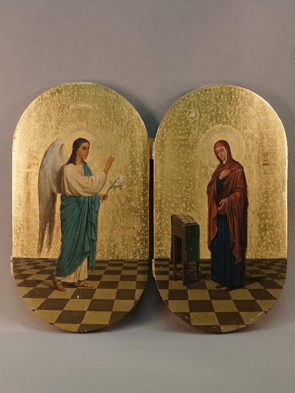 Пара икон «Благовещение Пресвятой Богородицы», дерево, масло, золочение, конец XIX – начало XX века, 40 × 22см