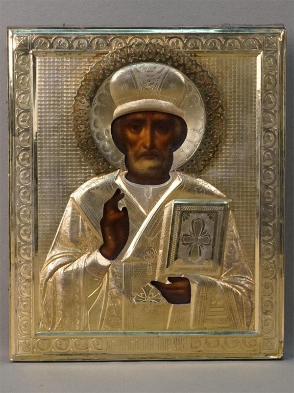 Икона «Святой Николай Чудотворец», дерево, масло, конец XIX – начало XX века, 27 × 22см; оклад серебро 84 пробы, золочение
