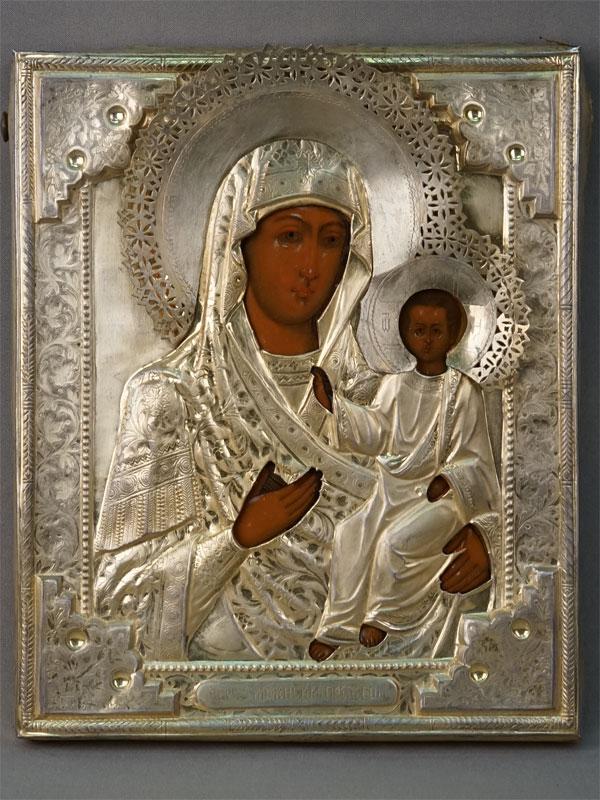 Икона «Пресвятая Богородица Смоленская», дерево, левкас, темпера, XIX век, 26,5 × 21,9см; оклад серебро 84 пробы, золочение, 1887 год