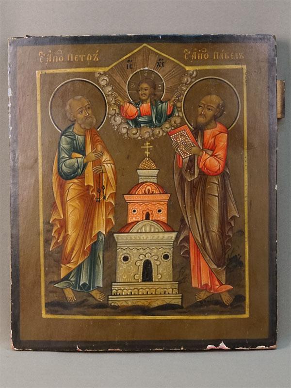 Икона «Святые Апостолы Петр и Павел», дерево, левкас, темпера, XIX век, 30,2 × 25,5см