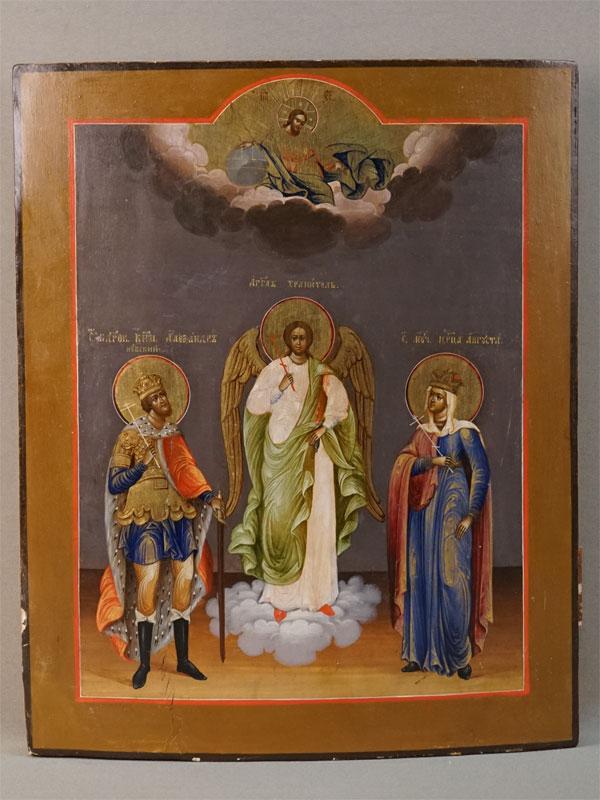 Икона «Святой Ангел Хранитель и Святые Александр Невский и Царица Августа», дерево, левкас, темпера, XIX век, 31,8 × 25,5см