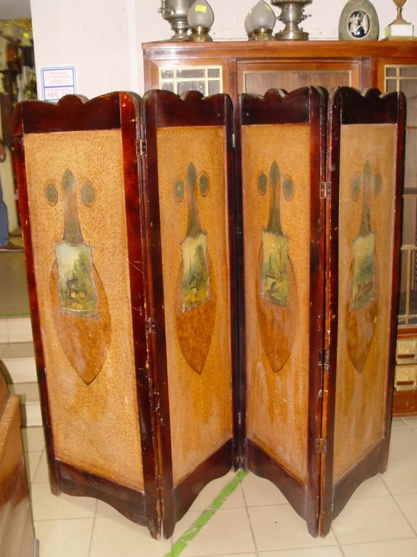 Ширма четырехстворчатая в стиле модерн, дерево, покраска, живопись, начало ХХ века, 162 × 52см (каждая створка)