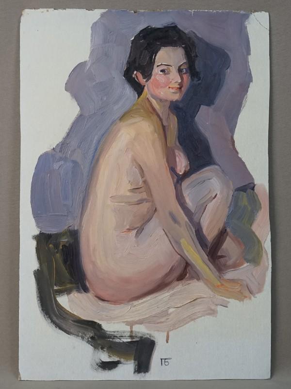 Бунин, Павел. «Натурщица», картон, масло, 1965 год, 39 × 26 см.