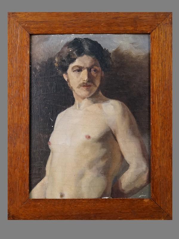 Неизвестный художник, «Натурщик», холст, масло. Русская школа, 23 × 17,5 см, около 1880 года.