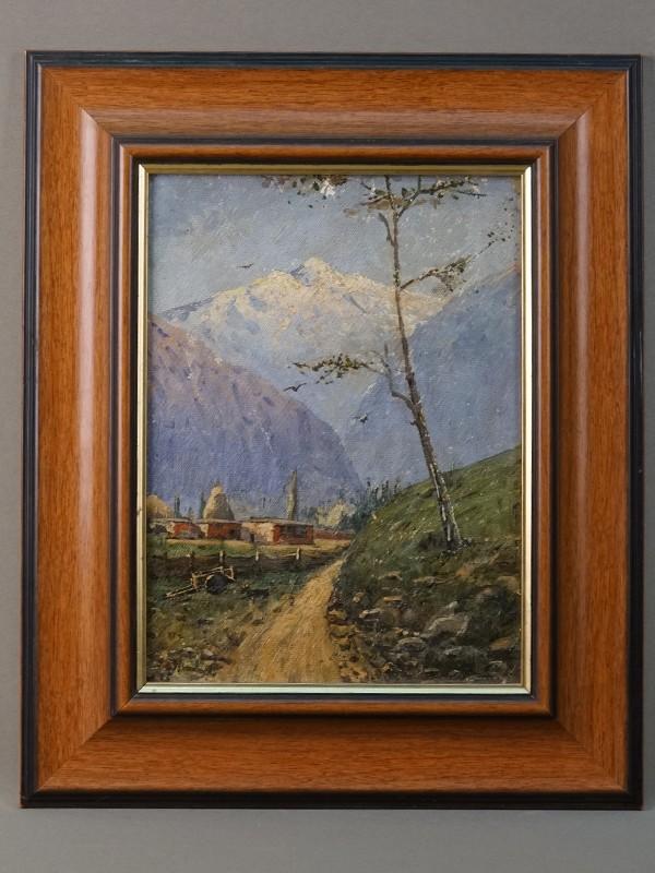 Рубо, Франц.(?) «Горный пейзаж», холст, масло, 29 × 22 см, около 1890 года. В раме 41 × 34 см.