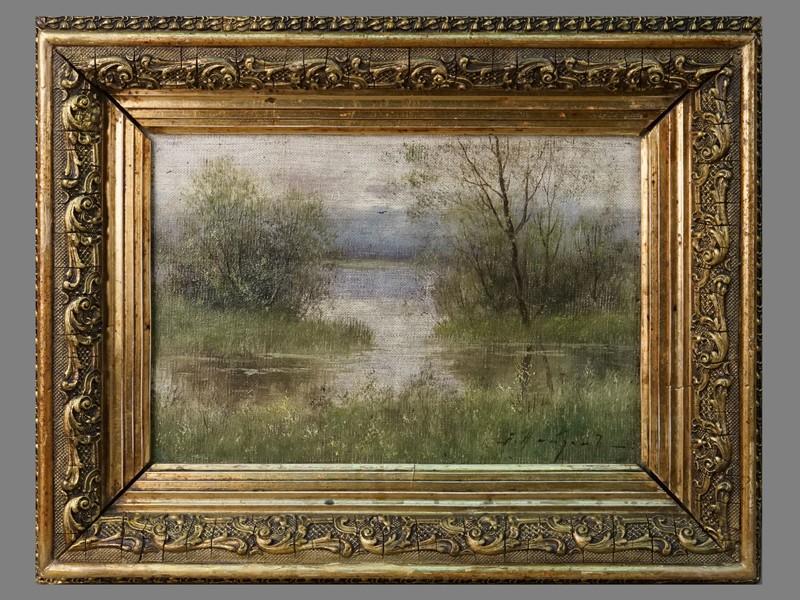 Найден, А. Два пейзажа: «Дорога в поле» и «Лесное озеро», холст, масло, 18,5 × 27 см, около 1900 года. В оригинальных рамах  29,5 × 37,5 см.