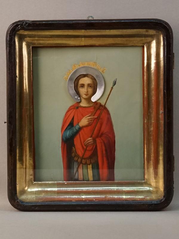 Икона в киоте «Святой Димитрий Солунский», дерево, масло; венец – серебро 84 пробы, XIX век, 21 × 18см