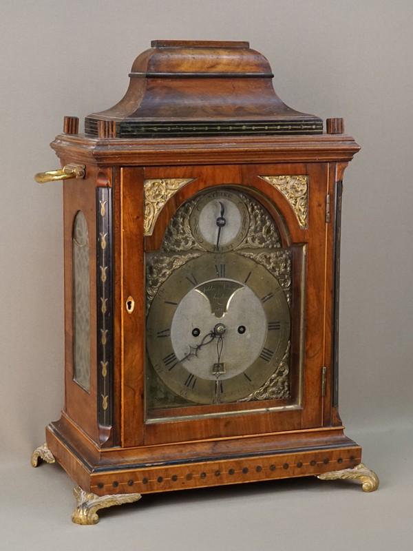 Часы консольные кабинетные, красное дерево, инкрустация латунью, бронза. Англия, начало XIX века, 52 × 31 × 23см (не на ходу, требуется реставрация)