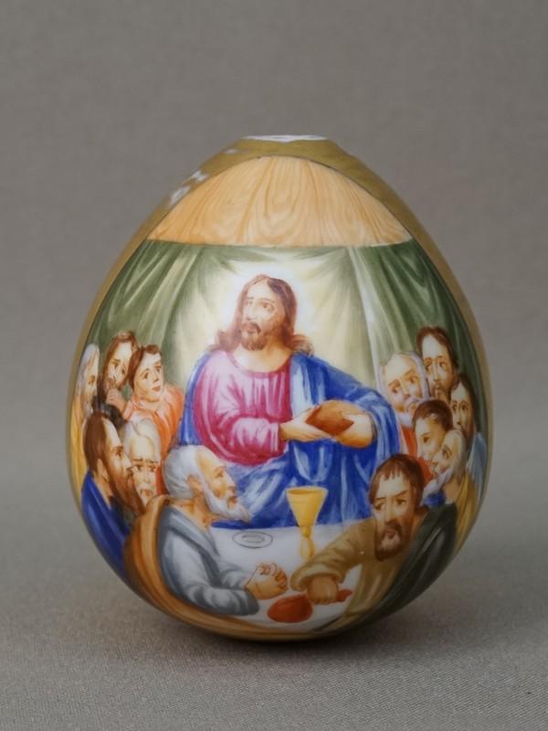 Яйцо пасхальное «Тайная Вечеря», фарфор, роспись, золочение, высота 7см, XIX век