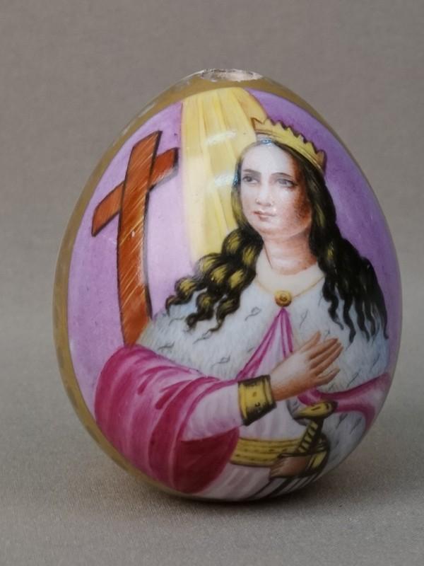 Яйцо пасхальное «Святая Великомученица Екатерина», фарфор, роспись, золочение, высота 7,5см, XIX век