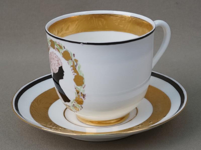 Чайная пара «Женский профиль», фарфор, роспись, золочение