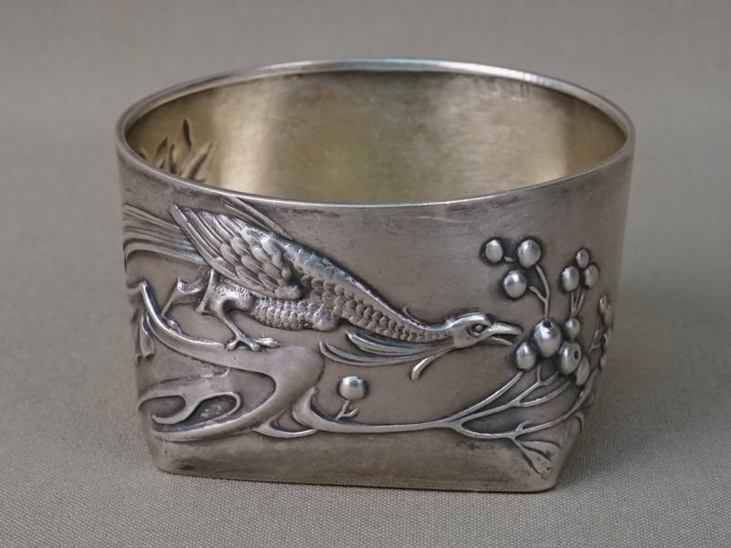 Солонка в русском стиле «Птица», серебро 84 пробы, общий вес 61, 42г., диаметр 6,5см