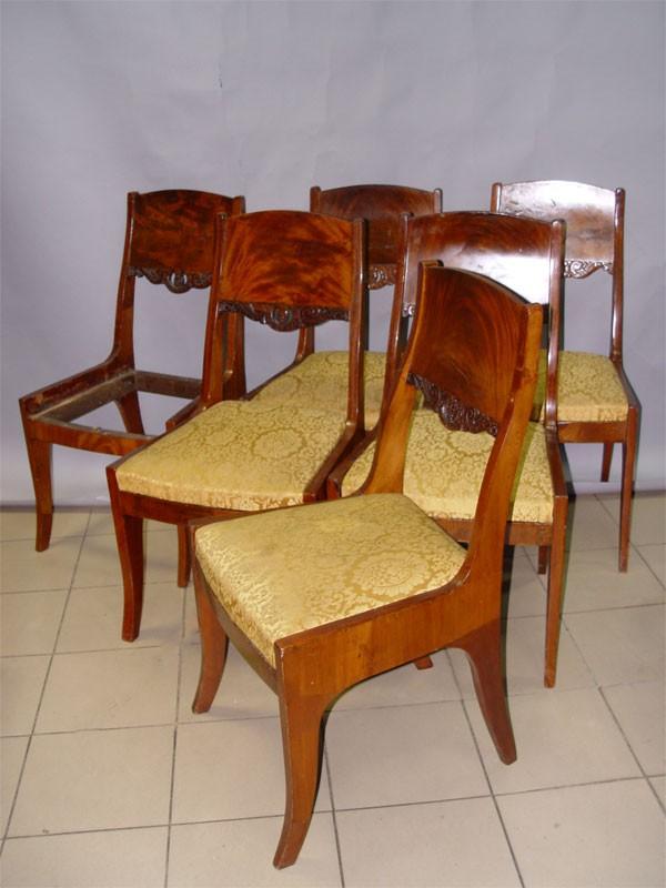 Комплект из шести стульев в стиле ампир, красное дерево. Россия, XIX век, высота 95см