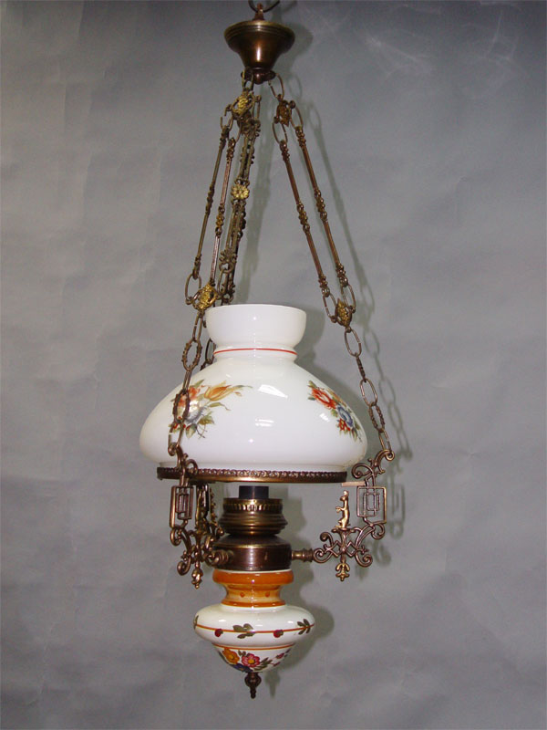 Люстра, бронза, фаянс, стекло, середина ХХ века, 1 световая точка. 93 × 25см (проводка неисправна)