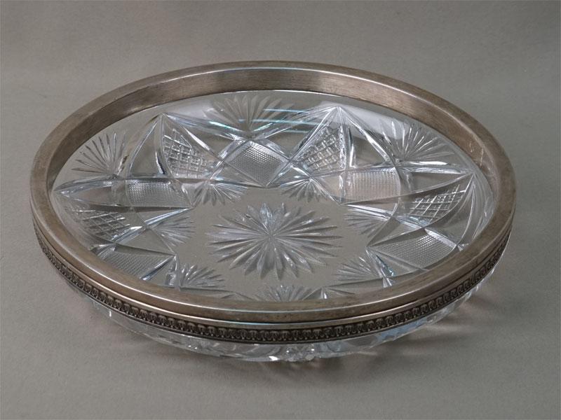 Ваза, хрусталь, серебро 84 пробы, диаметр 25,5см, начало XX века