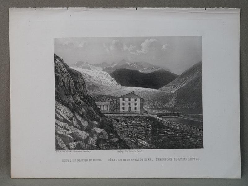 Отель у Ронского ледника. Швейцария. / Hotel am Rhonengletscher. По рисунку Rudisuhli J. L. sc. — Verlag von Chr. Krusiin Basel, 1845. Гравюра на стали. 25 × 16 см.