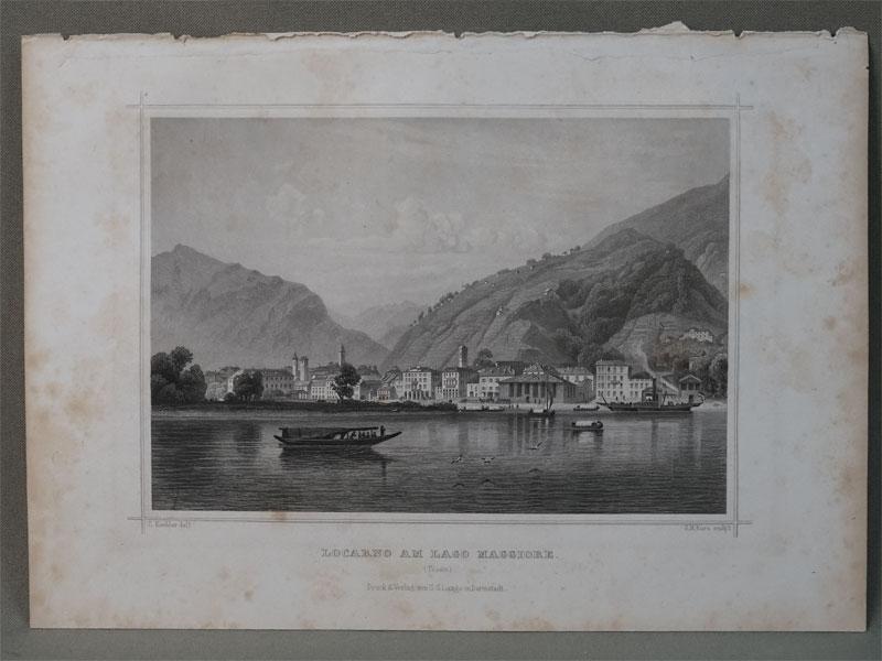 Локарно на озере Маджоре./ Locarno am lago Maggione. / (Tessin). Гравюра на стали. Рисовал C. Kohler. Гравировал  J. M. Kolb. – Darmstadt, 1850. 12,8 × 17,8 cm.