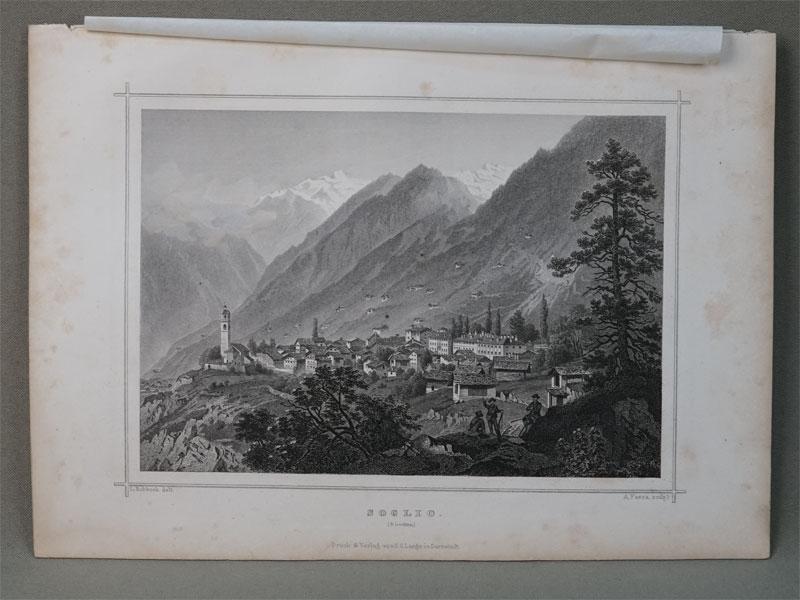 Cольо. Швейцария. / Soglio. Гравюра на стали. Рисовал L. Rohbock. Гравировал  A. Resca. – Darmstadt, 1850. 12,8 × 17,8 cm.