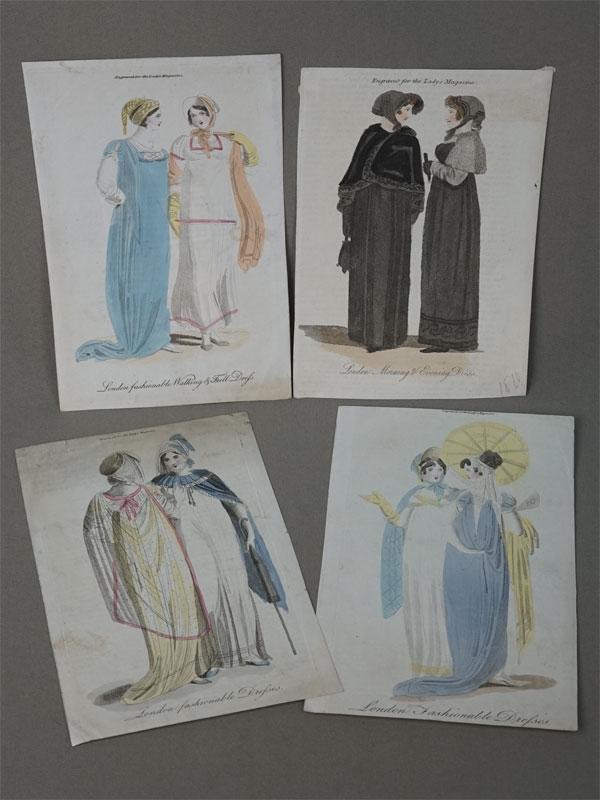 Модные лондонские прогулочные платья. Из дамского журнала «The Ledies Magasin», 1805 – 1810 гг. 19,5 × 11,5 см. Гравюра на меди с ручной раскраской.