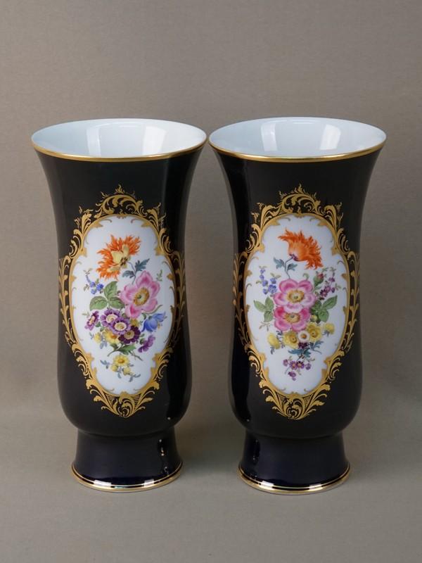 Пара ваз, фарфор, кобальт, роспись, золочение. Германия, Мейсен, середина XX века, высота 23,5см