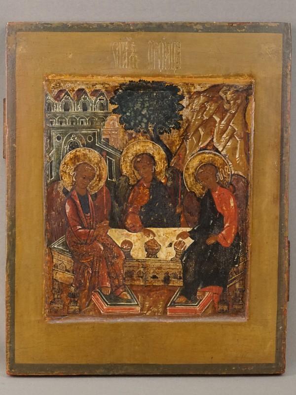 Икона «Святая Троица», дерево, левкас, темпера, золочение, XVII век, 32,9  × 26,2см