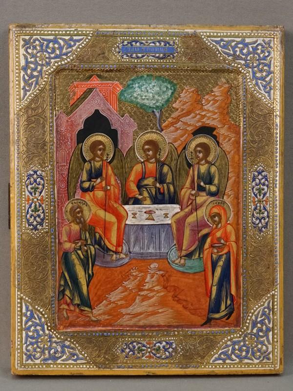 Икона «Святая Троица», дерево, левкас, темпера, золочение, холодные эмали, конец XIX века, 22,4  × 17,5см