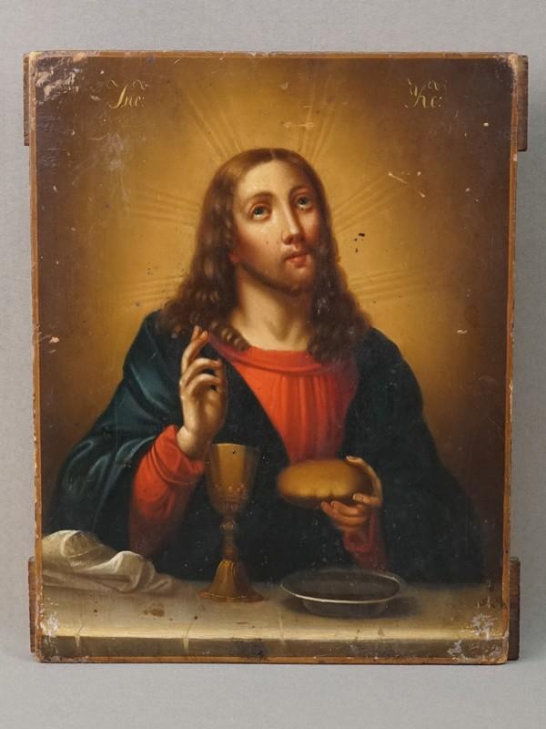 Икона «Спаситель, благословляющий хлеб и вино», дерево, масло, XIX век, 27,2  × 21,3см