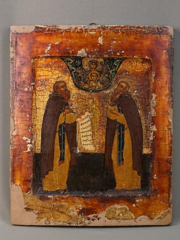 Икона «Святые Преподобные Зосима и Савватий Соловецкие», дерево, левкас, темпера, золочение, XIX век, 31 × 26см. Оклад серебро по реактиву, золочение