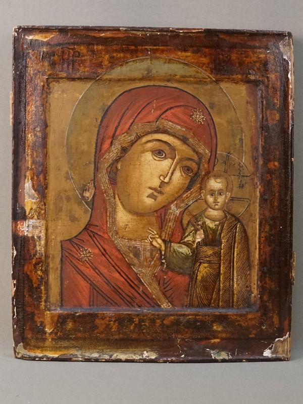 Икона с двойным ковчегом «Пресвятая Богородица Казанская», дерево, левкас, темпера, золочение, XVII век, 31,7 × 26,9см