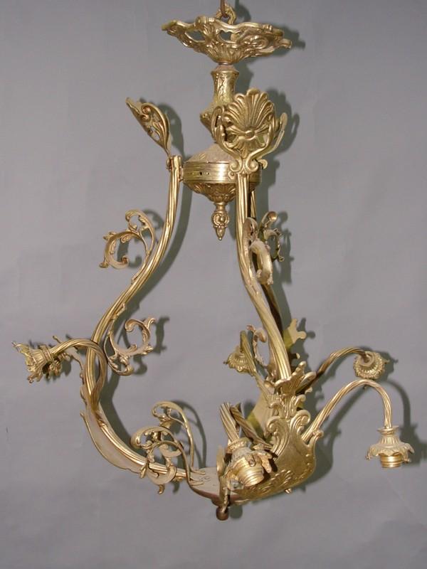 Люстра в стиле барокко, бронза, латунь, 6 световых точек, 85 × 76см (требует реставрации, проводка неисправна)