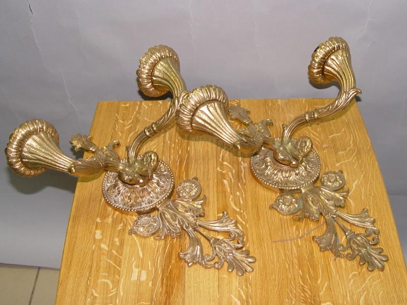 Пара двухрожковых бра в стиле «сталинский ампир», бронза. СССР, середина ХХ века, 44 × 35 × 20см