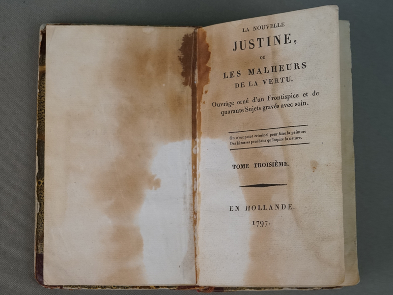 Маркиз де Сад. Новая Юстина или Несчастья добродетели. / La Nouvelle Justine ou les malheurs de la vertu. Часть третья. — En Hollande, 1797. – 356 с.