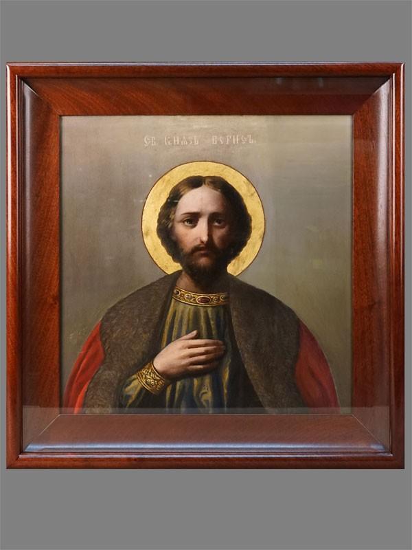 Икона в киоте «Святой Князь Борис», дерево, масло, золочение, 36 × 36см, начало XX века (реставрация)