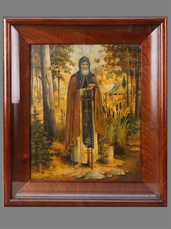 Икона в киоте «Святой Преподобный Сергий Радонежский», дерево, масло, золочение, 33 × 27,5см, начало XX века
