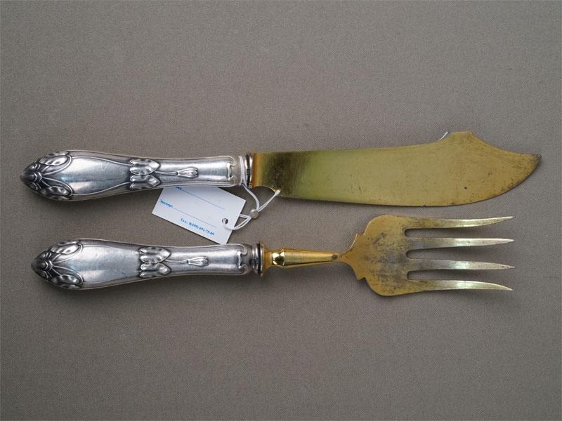 Сервировочный набор в стиле модерн (вилка и нож), серебро 84 (800) пробы, сталь, общий вес 193г.