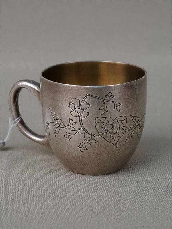 Чашечка, серебро 84 пробы, гравировка, общий вес 37,9г., клеймо «К.Ф.», высота 4см, начало XX века