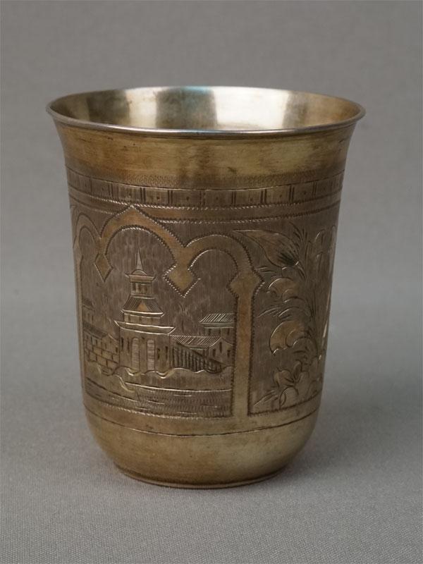 Стакан, серебро 84 пробы, гравировка, золочение, общий вес 66,6г., высота 7,2 см, 1875 год