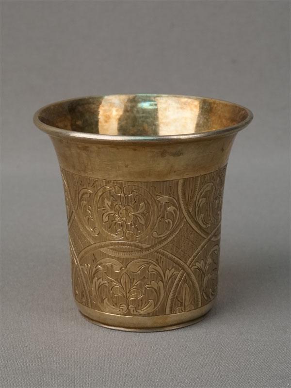 Стакан, серебро 84 пробы, гравировка, золочение, общий вес 72,3г., высота 6,2 см, 1840-е годы