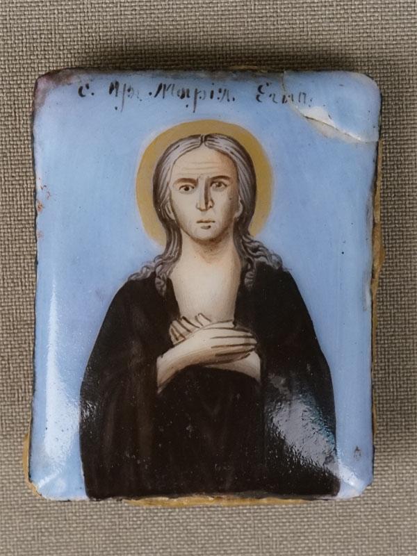 Икона «Святая Преподобная Мария Египетская», металл, финифть, XIX век, 5 × 4см (скол)